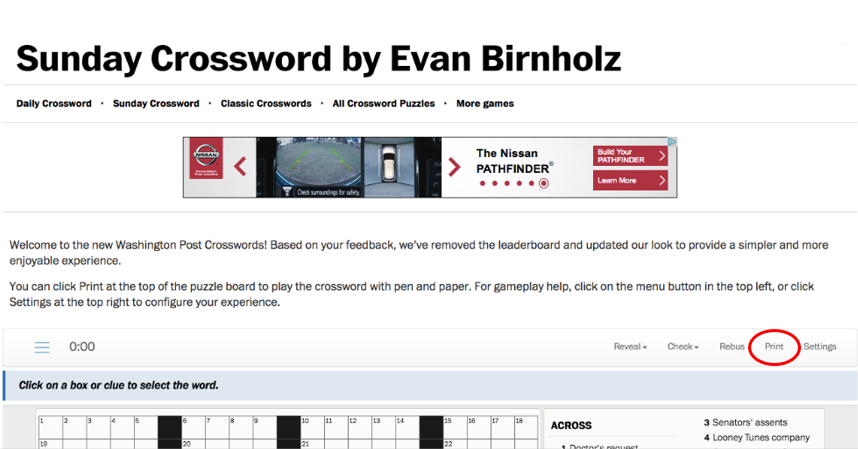 print the online crossword the washington post